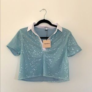 Superdown Cropped Sequined Polo Shirt - NWT